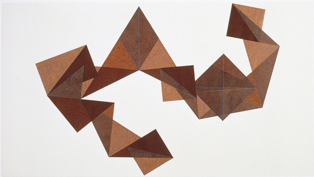 Dorothea Rockburne,  Copal VIII , 1979. Kraft paper, copal oil varnish, colored pencil, and glue, mounted on ragboard. 49 x 85 in. Courtesy of the artist