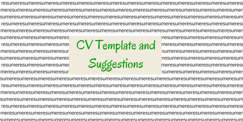 Cv Template And Suggestions Ronan Kennedy