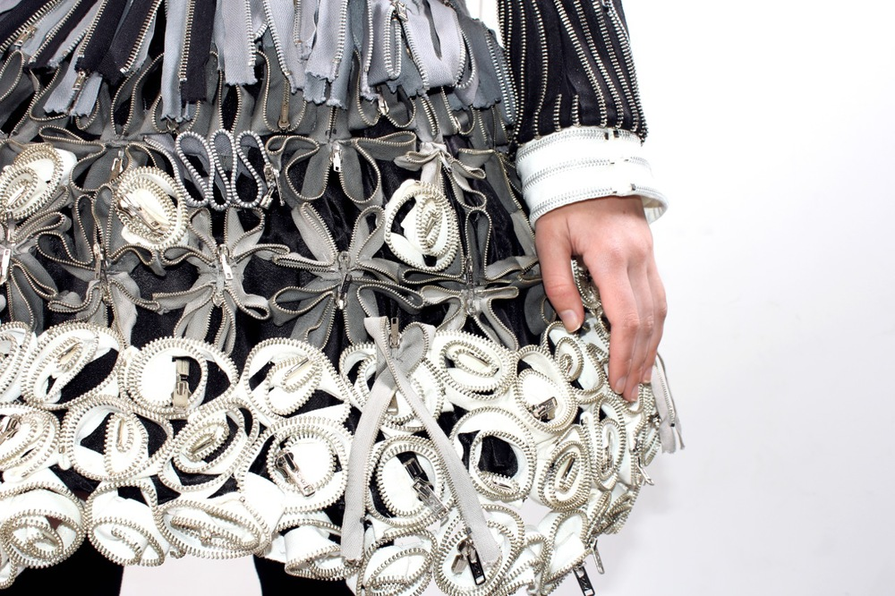 """City Lolita's Ode to Gideon"" by Debbie Shepherd, made entirely of upcycled zips"