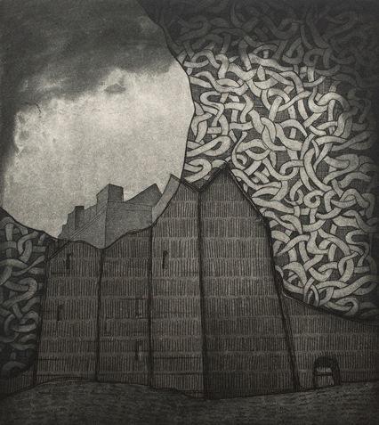 Vaida Varnagiene -Dunguaire Castle,Etching, plate size 20x18 cm