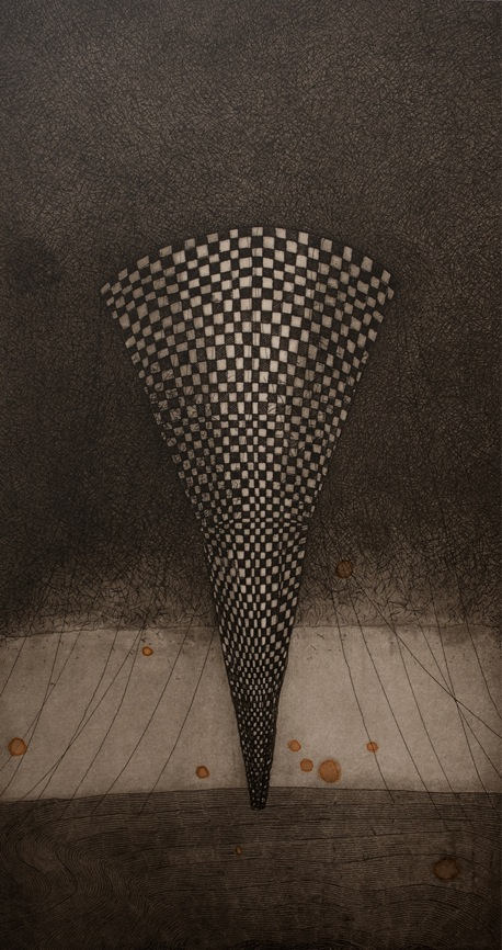 Vaida Varnagiene -Tower V,Etching, plate size 34x18 cm