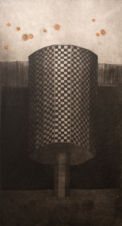 Vaida Varnagiene -Tower VI,Etching, plate size 34x18 cm