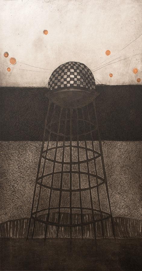 Vaida Varnagiene -Tower VII,Etching, plate size 34x18 cm