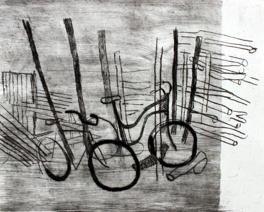 Maev Lenaghan - Wheels and Such Drypoint on hahnemule  30 x 37  cm unframed €75