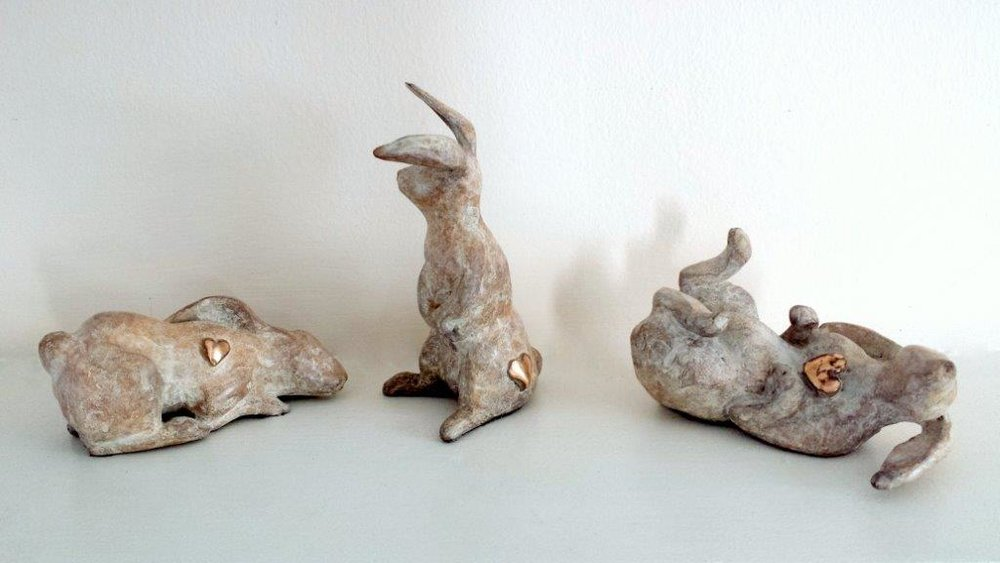 Stephanie Hess, Thumper Series – Dreamy, Perky, Playful Bronze, edition of 12  11cm x 4cm x 6cm  €700.00 each