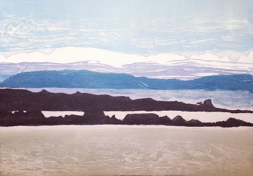 Elke Thönnes, Spiddal Beach View  Carborundum, sheet and image 76 x 106cm, €750.00 unframed
