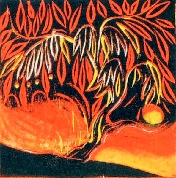 Jenny Lane, Bonsai I Woodcut,mage size: 20 cms x 15 cms, paper size: 39 cms x 40 cms,€190 unframed price
