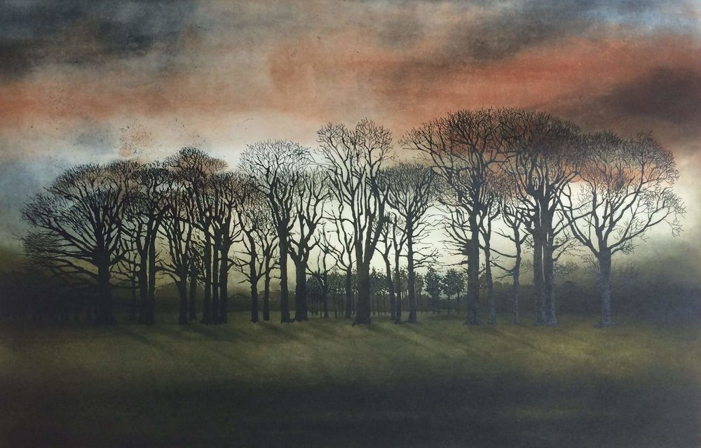 Robert Russell - -Fire Over Phoenix Park, etching and aquatint, image size: 34 x 54 cm, paper size: 53 x 69 cm, €390 unframed