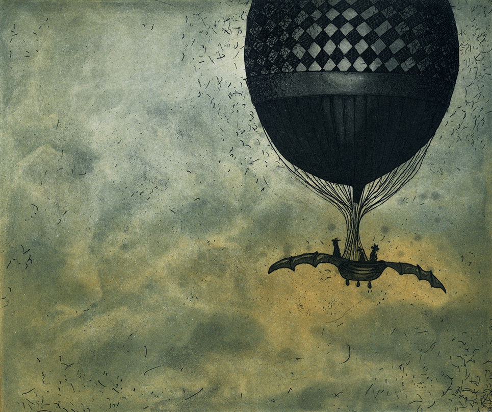 Vaida Varnagiene, Flying to Timbuktu, paper 27 X 32 cm, image 15 x 18 cm, €170 unframed