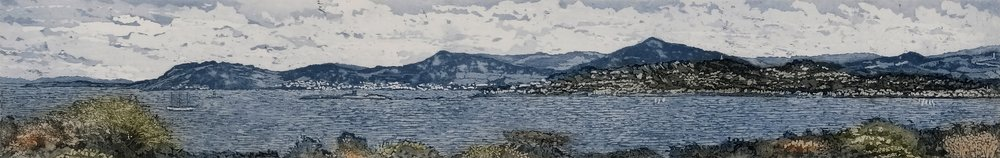 Susan Early,   Across Dublin Bay- North to South , ed. of 50,  etching & aquatint, plate: 8 x 50cm, paper: 22 x 62cm. Unframed price: €290