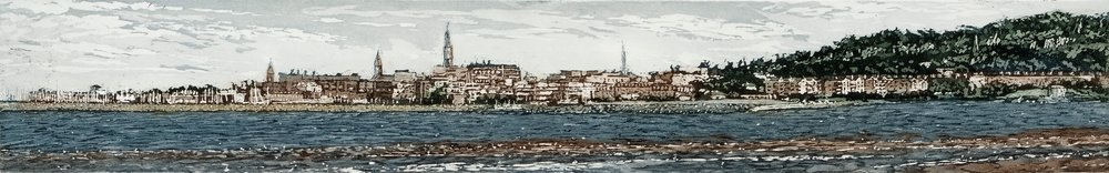 Susan Early,   Dun Laoghaire , ed. of 50,  etching & aquatint, plate: 8 x 50cm, paper: 22 x 62cm. Unframed price: €290