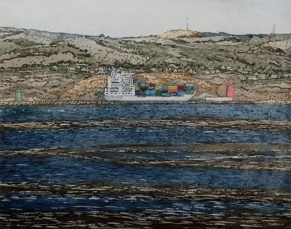 Susan Early,   Passing Poolbeg , ed. of 50, etching & aquatint,  plate: 20 x 25cm, paper:  36 x 39cm,  Unframed price: €250