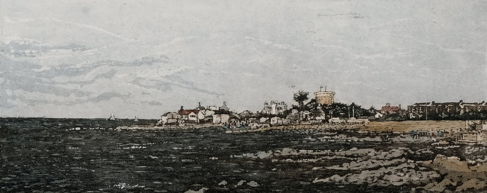 Susan Early,   Sandycove , ed. of 50, etching & aquatint, plate: 12 x 32cm, paper:  27 x 45cm. Unframed price: €230