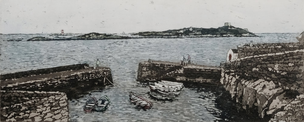 Susan Early,    Coliemore  , ed. of 50, etching & aquatint,  plate: 12 x 32cm, paper:  27 x 45cm. Unframed price: €230