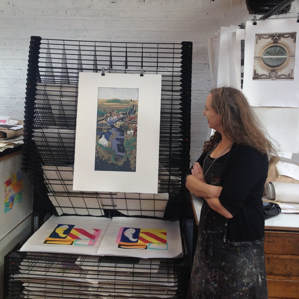 Una Sealy with her finished print at Graphic Studio Dublin, 2016. Una's residency was funded by Fingal County Council.