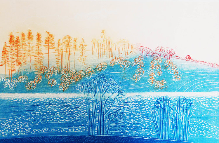 Jenny Lane, Northern Lake, 53 x 43 cm (paper size), Woodblock, €250 unframed, €370 framed