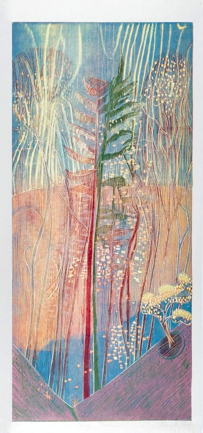 Jenny Lane, Valley Storm, 29.5 x 60.4 cm (paper size), Woodblock,€300 unframed,€410 framed