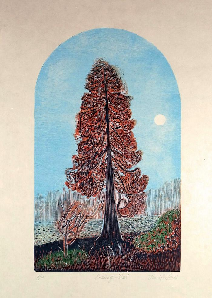Jenny Lane, Evening Red, 49 x 65 cm (paper size), Woodblock, €310 unframed, €430 framed