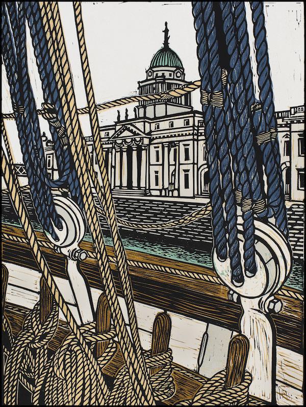 Louise Leonard, Custom House Dublin, 34 x 25.5 cm (image size), 47 x 36 cm (paper size), Linocut,€280 unframed,€370 framed