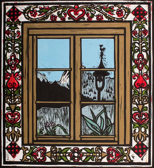 Louise Leonard, Gasthof Post, 16.6 x 18.3 cm (image size), Linocut,€180 unframed,€230 framed