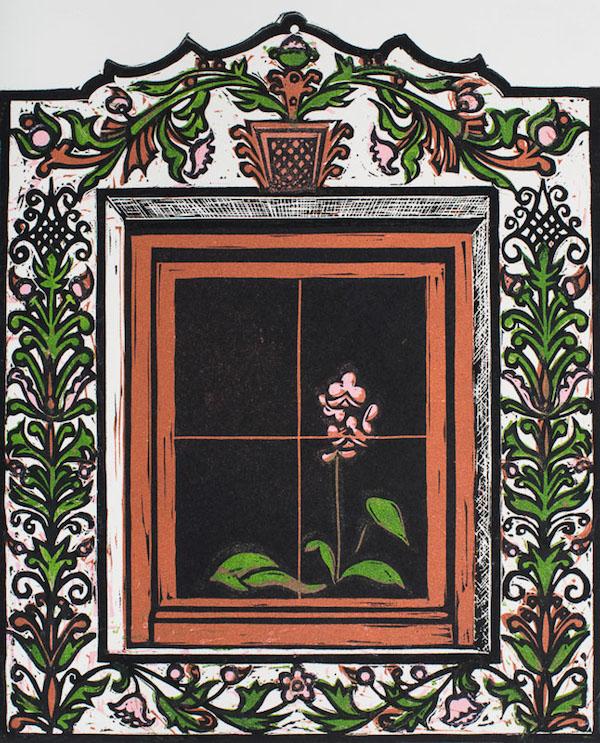 Louise Leonard, Alpine Orchid, 16.4 x 20.4 cm (image size), Linocut,€180 unframed,€230 framed
