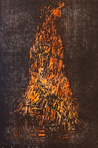 Michael Lyons, Bonfire, Woodblock