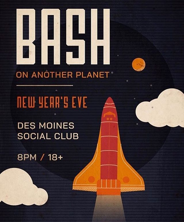 Fun one coming up for New Year's Eve in #desmoines. Bringing @drewmadestuff's visuals along for this one.  #desmoinessocialclub #iowamusic #bashonanotherplanet