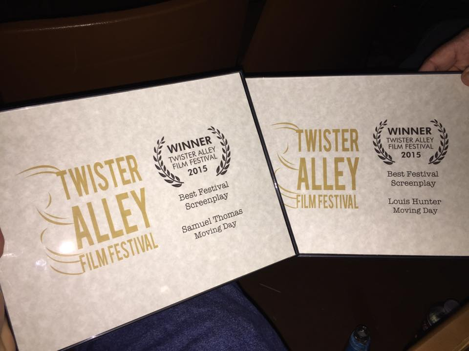 Best Festival Screenplay at the Twister Alley Film Festival, 2015