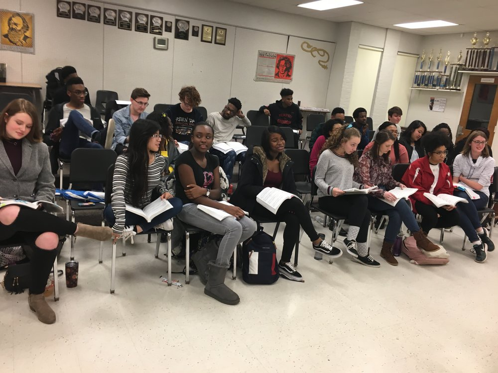 The cast of Sweeney Todd prepares for its first sing-through of the show