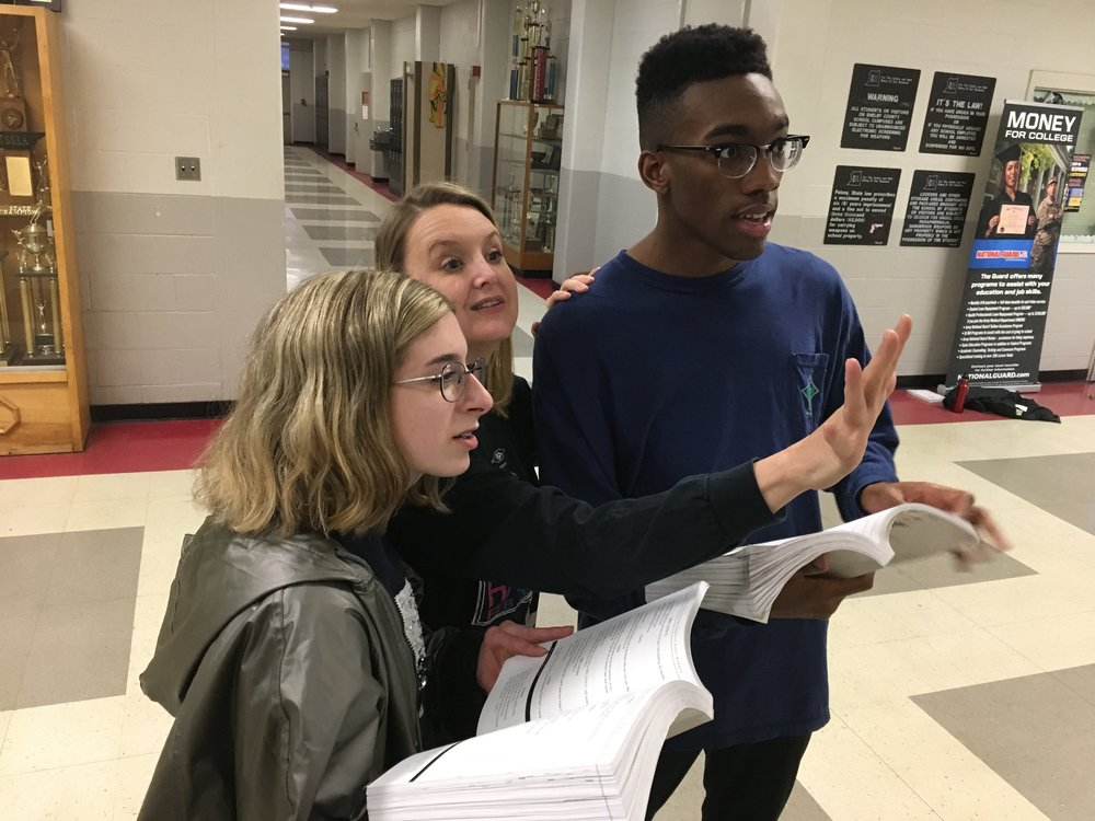 Director Ashleigh Williams works with Rachel Christopherson (Johanna) and Alan Toney (Judge Turpin) on a sce