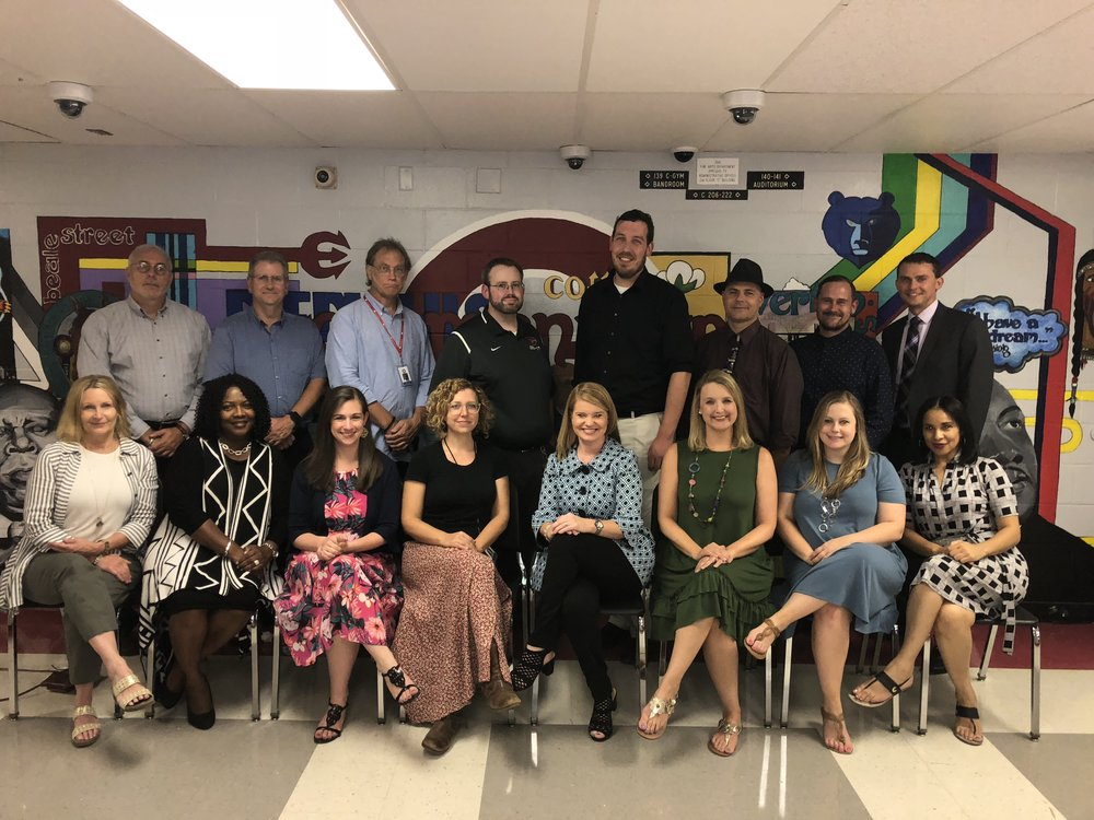 2018 - 2019 GHS CAPA Staff: Bottom row from left, Teresa Phipps, Katie lowe, Mallory Kenney, ASHLEY GERST, allison long, Ashleigh williams, Catie Ward, Carolyn mitchell. Second Row, Leonid Mazor, David chipman, Remy miller, Bobby ramsay, JEFF WHITE, Alex perry, Joe mitchell, matthew hayner.  Not pictured : michael wheeler