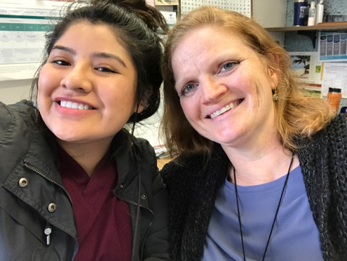 Josselin (left) and HEY Coordinator/Advisor Jennifer Johnston (right)