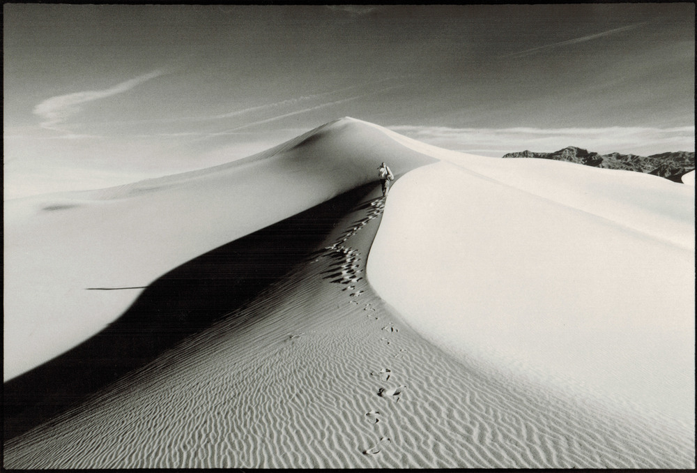 "Michael Robertson ""Man on the Dune,"" Framed 8 ""x 10"" matted in 5"" x 7"", B & W hand-printed photograph, Estimated value $150 www.globaleyephotography.com"