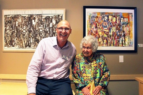 Hospice of Santa Barbara CEO David Selberg with Artist Margaret Singer at the opening of her solo art exhibit.