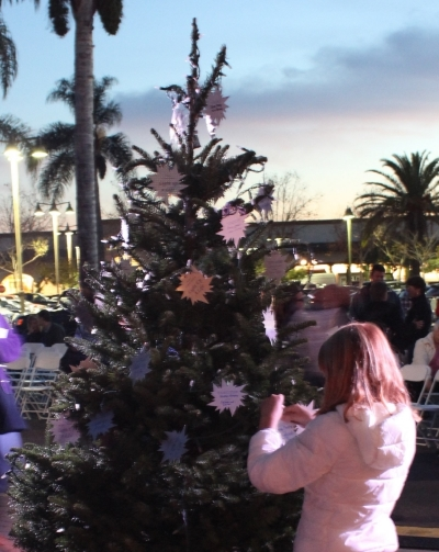 A young girl hangs a star honoring a loved one during Hospice of Santa Barbara's Light Up a Life ceremony in Goleta Sunday.