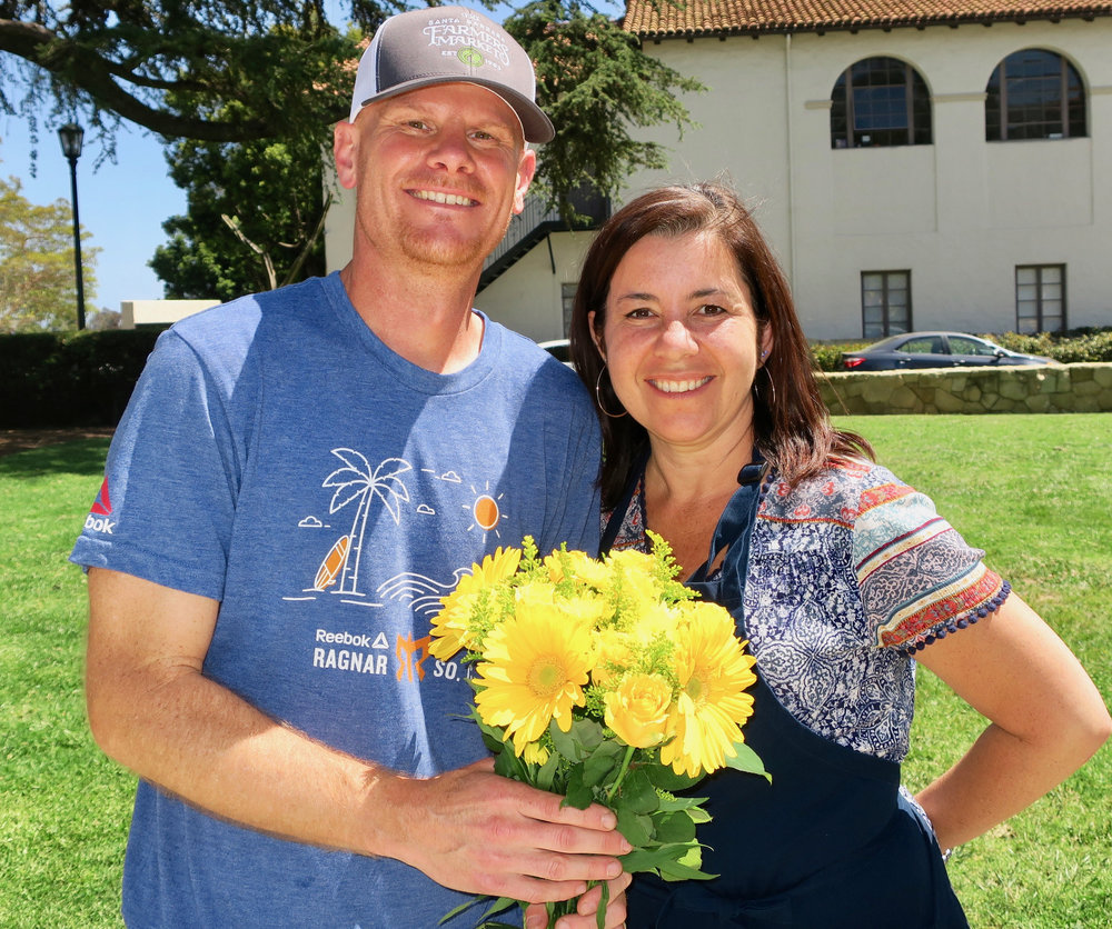 Grower of the Year Award Recipient Erik Van Wingerden of Myriad FLowers with Volunteer Coordinator April Medina-Watson