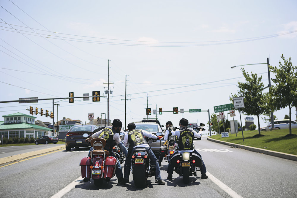 Members of the club wait at a stoplight on their way from Nazareth, PA to New Jersey.