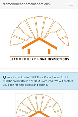 Confirmed order   - When the order has been completed you will be directed to this screen above.  If you should have any questions you can call or text us at 808-228-7478 or email daniel.smith@dhhomeinspect.com.  Additionally, you can scroll down your dashboard and tap