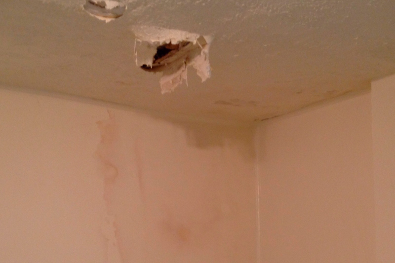 Severe Water Damage - In this ceiling our home inspector found severe water damage.