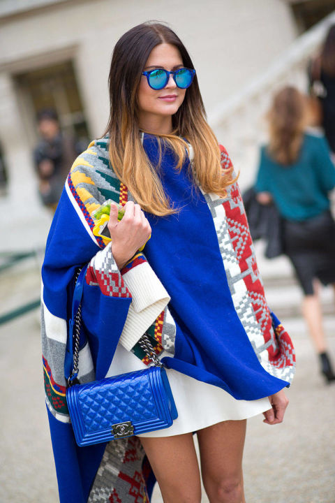 I'm loving this cobalt blue patterned wrap. It looks cozy, but paired with a pair of shorts and a tee it is absolutely perfect for spring.