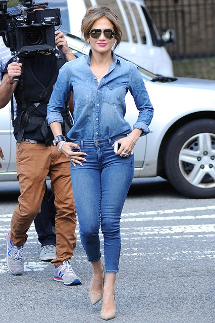 For those of you who live under a rock. I'm here to tell you that double denim is A thing and its not going away anytime soon. Rocking your favorite pair of jeans with a denim button up is not a fashion no no. HELLO, J-Lo is doing it. So obviously the rest of us should as well.