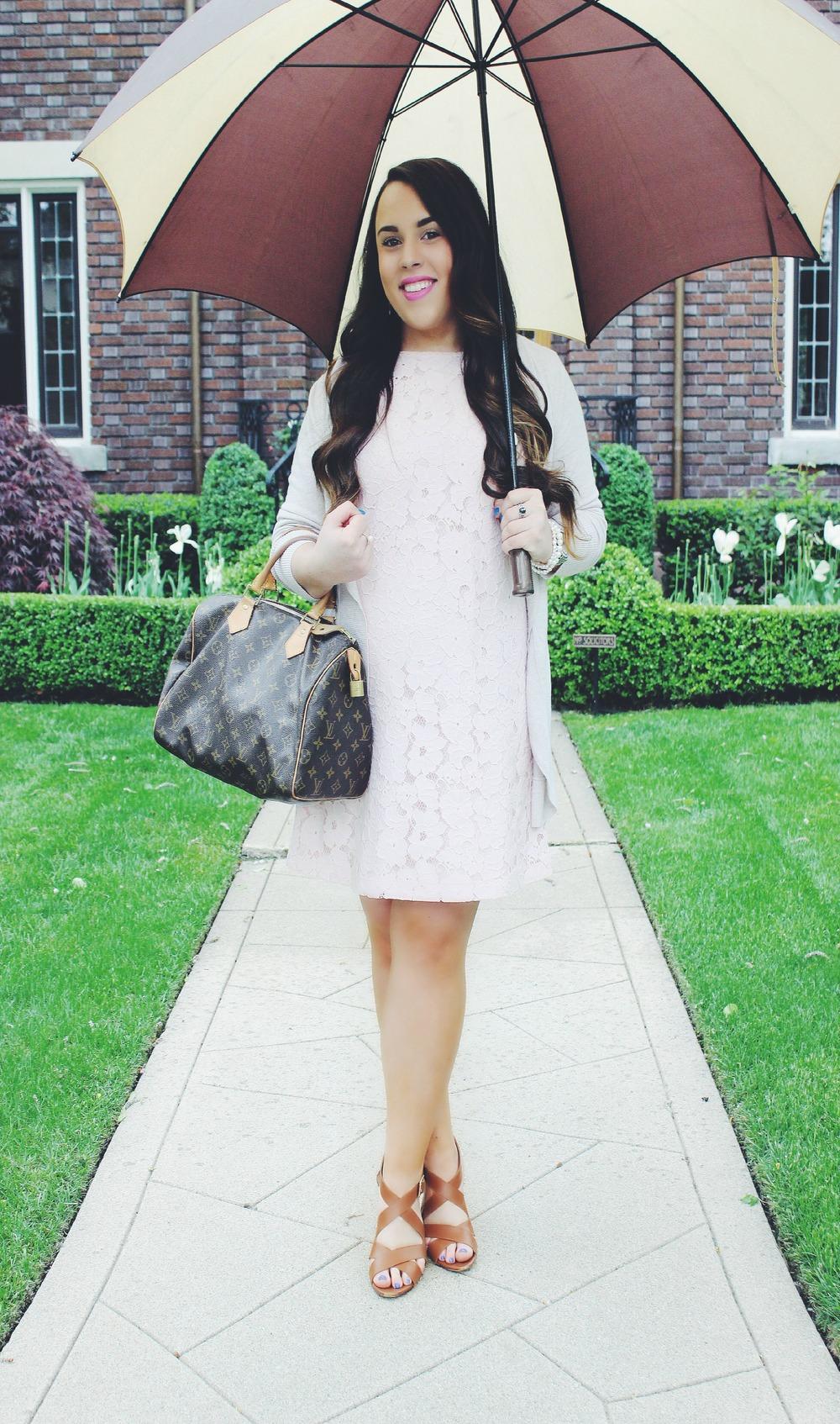Dress: BB  Dakota   Cardigan:  Target .  Shoes: Sole Society, Old. Similar  Here &  Here .  Handbag: Louis  Vuitton .  Rings: David Yurman.  Here  &  Here .  Watch: Michael  Kors .  Bracelets:  Silpada