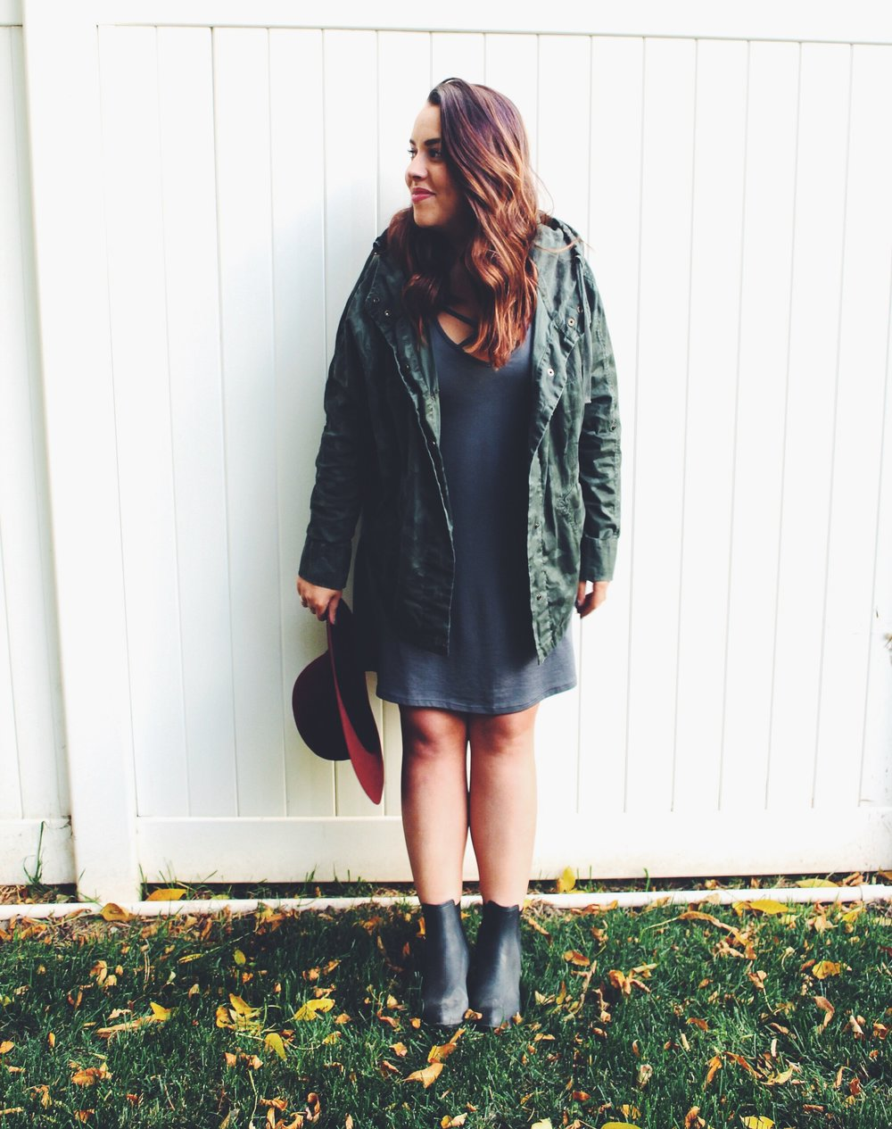 Dress: Nordstrom Camo Jacket: Topshop Booties: Jeffrey Campbell  Hat: Old - Similar Here