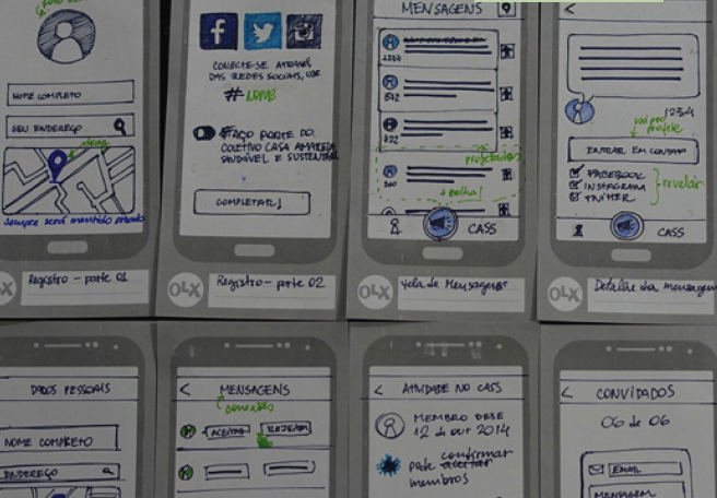 Handmade wireframes for the digital part.