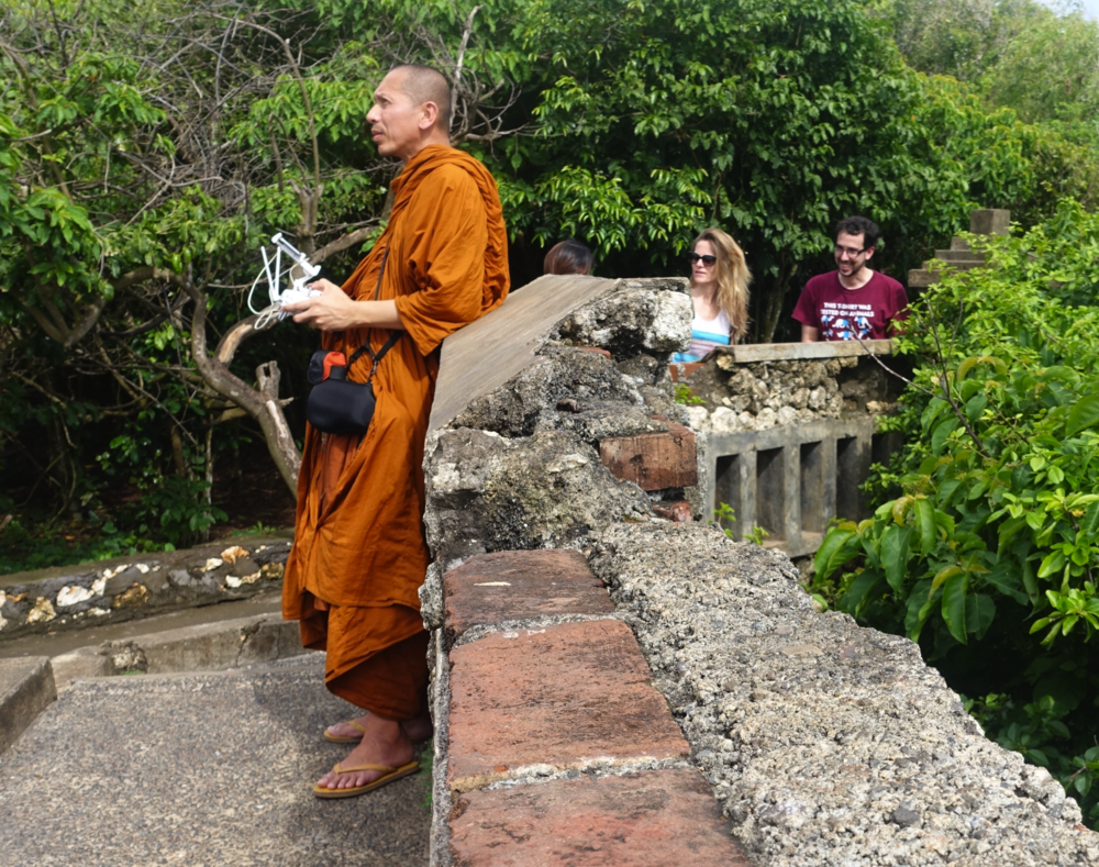 Coworking monk and pet drone