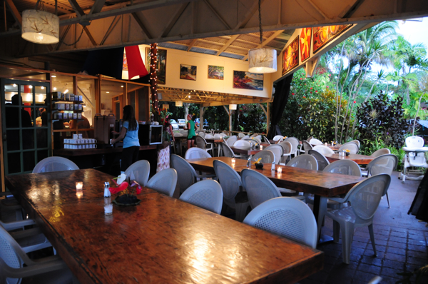 Our rustic dining lanai where any dress code goes!