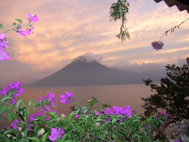 Volcano sunset on Lake Atitlan