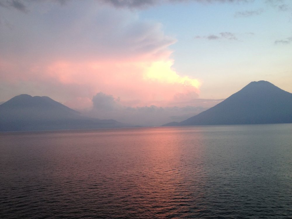 View of Lake Atitlan at sunset