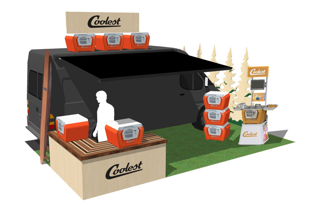Rendering developed for the Coolest Cooler's trade show booth visualization using SketchUp and Photoshop.