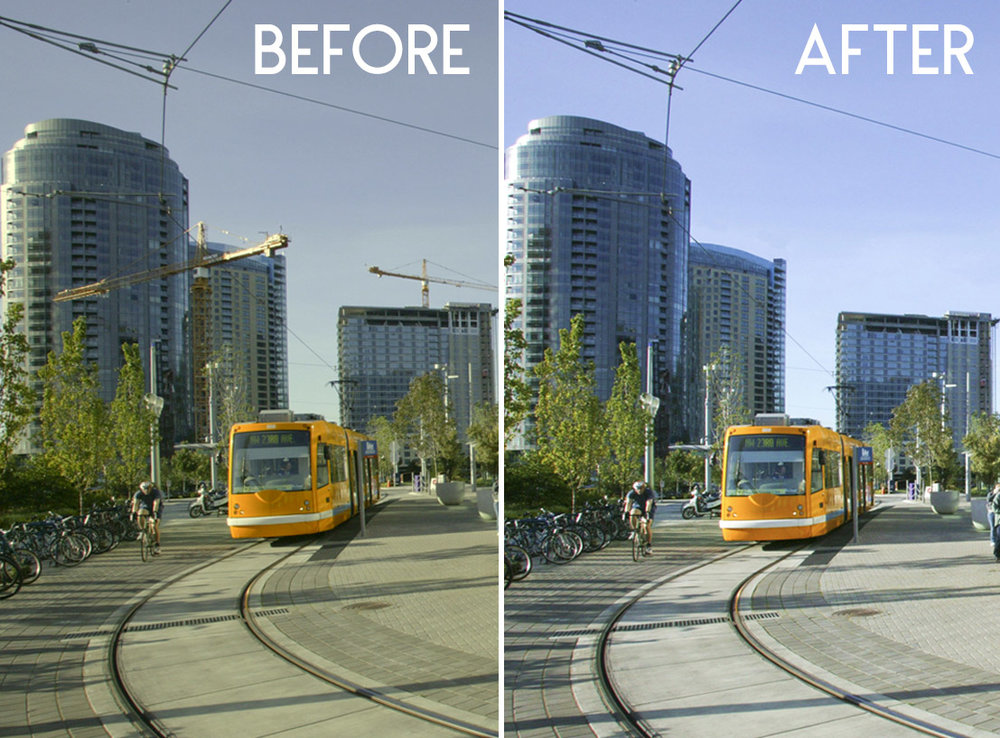 Digital removal of two construction cranes and color correction. Photoshop editing can help with the removal of any distracting items.